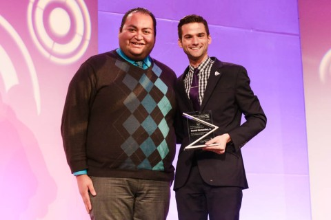 Task Force Creating Change Manager Daniel Pino presents Paul A. Anderson Award for Youth Leadership to Daniel Hernandez, Jr..
