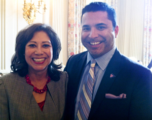 Labor Secretary Hilda Solis and the Task Force's Russell Roybal at the White House.