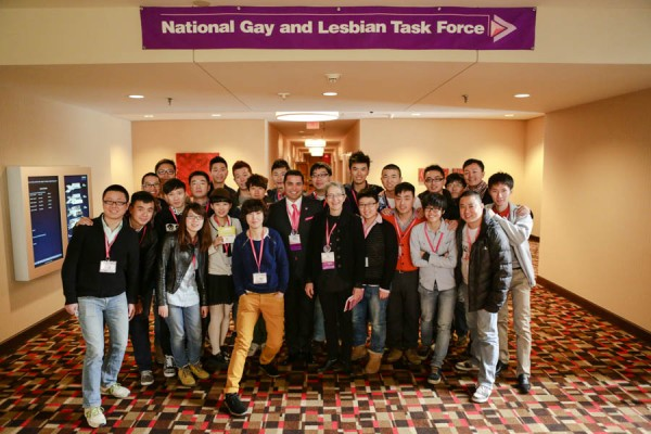 The Task Force's Russell Roybal and Sue Hyde pose with a group of LGBT leaders from China.