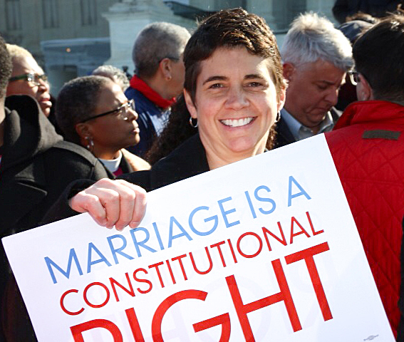 Our Rea Carey at the Supreme Court today for the historic Supreme Court marriage equality arguments.