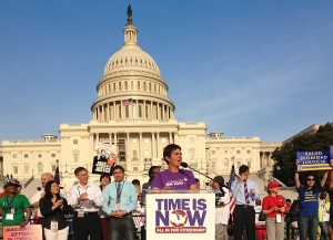 The Task Force's Rea Carey speaking at today's massive immigration reform rally. Photo credit: Kathy Plate