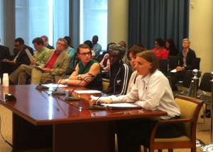 Task Force Transgender Civil Rights Project Director Lisa Mottet testifies at the DC City Council hearing.