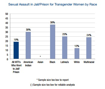 Trans women of color, especially black trans women, encountered sexual assault in jail/prison in the highest numbers.