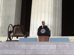 President Obama speaks at the 50th Anniversary of the March on Washington Let Freedom Ring Rally.