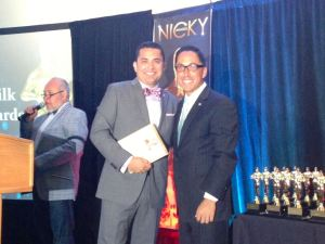 Russell Roybal accepting the Nicky Award.