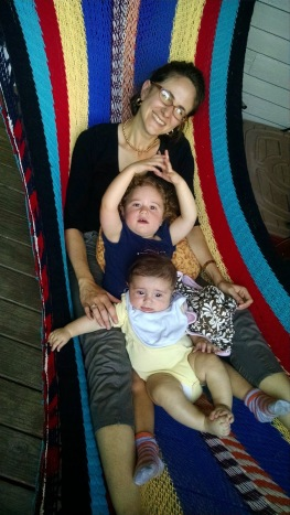 Catherine Bell with her children